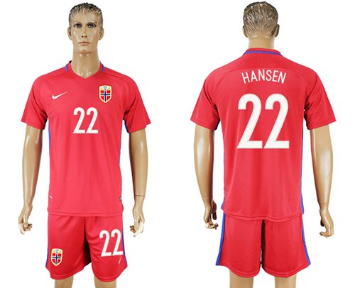 Norway #22 Hansen Home Soccer Country Jersey
