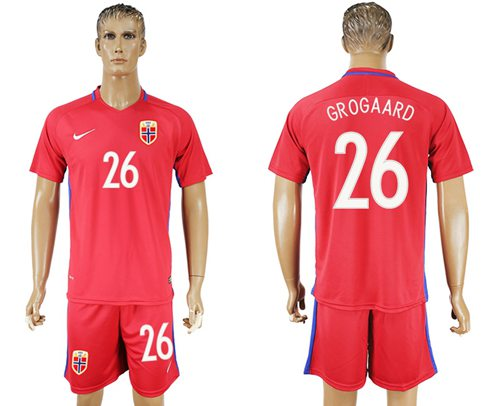 Norway #26 Grogaard Home Soccer Country Jersey