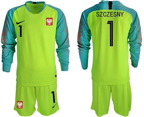 Poland #1 Szczesny Shiny Green Goalkeeper Long Sleeves Soccer Country Jersey