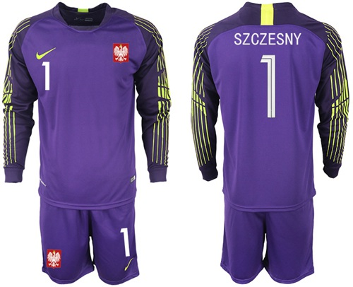 Poland #1 Szczesny Purple Goalkeeper Long Sleeves Soccer Country Jersey