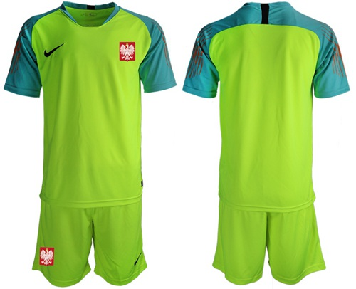Poland Blank Shiny Green Goalkeeper Soccer Country Jersey