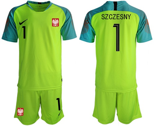 Poland #1 Szczesny Shiny Green Goalkeeper Soccer Country Jersey