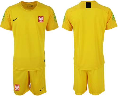 Poland Blank Yellow Goalkeeper Soccer Country Jersey