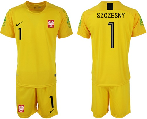 Poland #1 Szczesny Yellow Goalkeeper Soccer Country Jersey