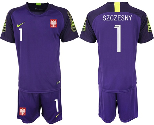 Poland #1 Szczesny Purple Goalkeeper Soccer Country Jersey