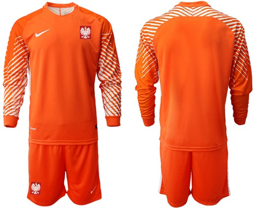 Poland Blank Orange Goalkeeper Long Sleeves Soccer Country Jersey