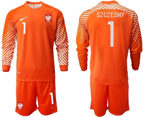 Poland #1 Szczesny Orange Goalkeeper Long Sleeves Soccer Country Jersey