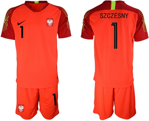 Poland #1 Szczesny Red Goalkeeper Soccer Country Jersey