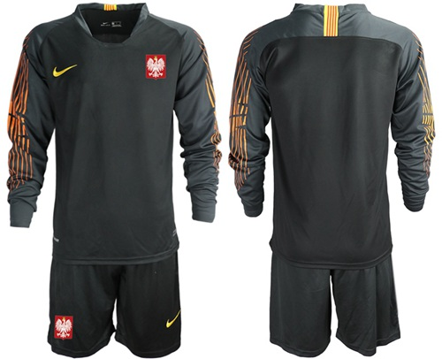 Poland Blank Black Goalkeeper Long Sleeves Soccer Country Jersey