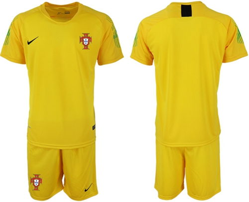 Portugal Blank Yellow Goalkeeper Soccer Country Jersey