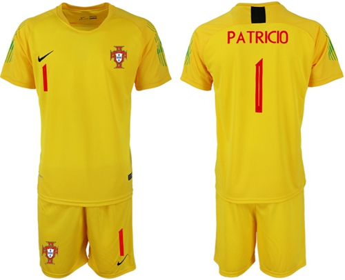 Portugal #1 Patricio Yellow Goalkeeper Soccer Country Jersey