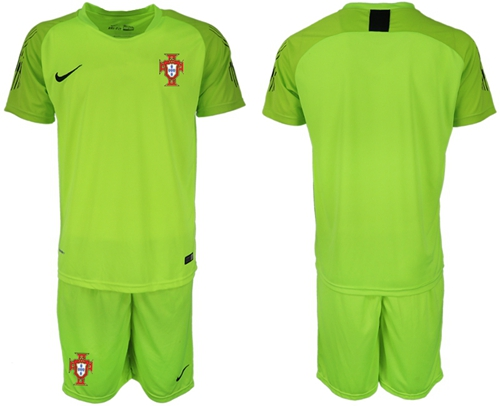 Portugal Blank Shiny Green Goalkeeper Soccer Country Jersey
