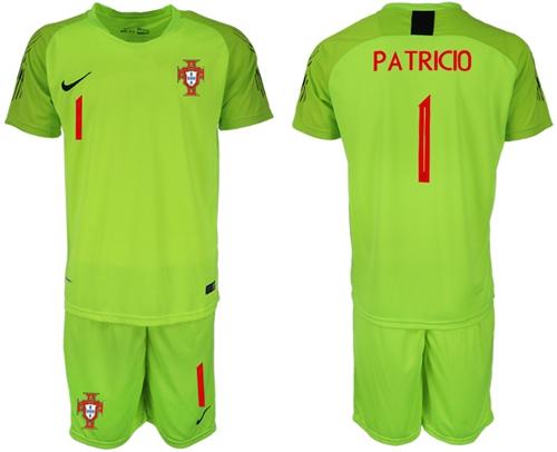 Portugal #1 Patricio Shiny Green Goalkeeper Soccer Country Jersey