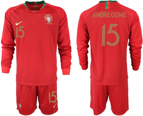 Portugal #15 Andre Gome Home Long Sleeves Soccer Country Jersey