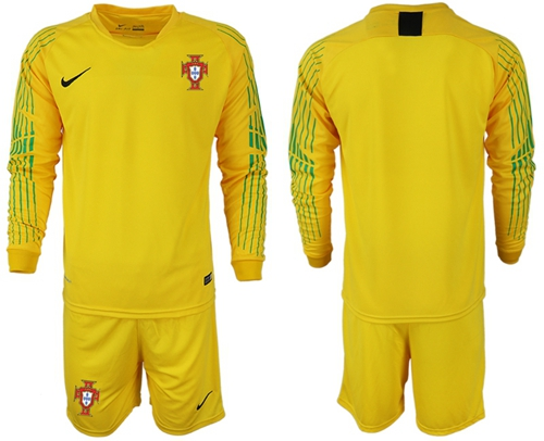 Portugal Blank Yellow Goalkeeper Long Sleeves Soccer Country Jersey