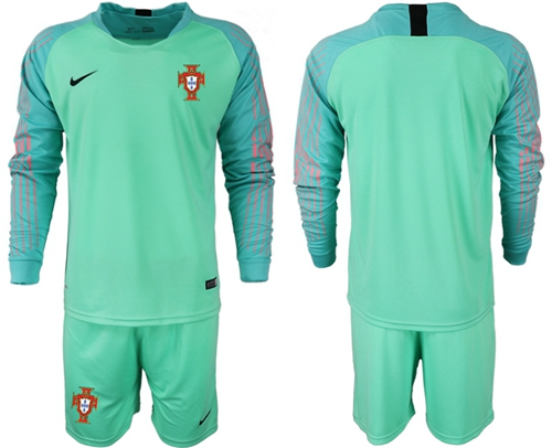 Portugal Blank Green Goalkeeper Long Sleeves Soccer Country Jersey