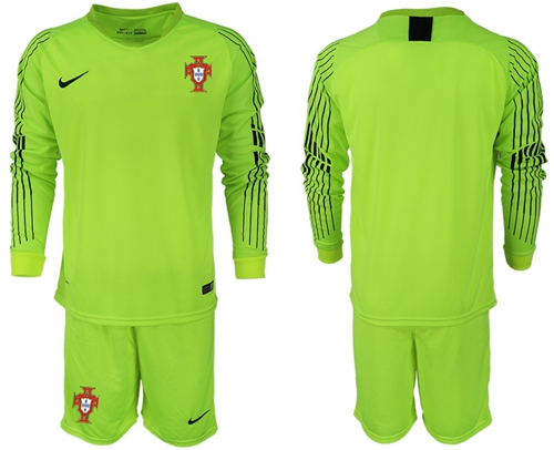 Portugal Blank Shiny Green Goalkeeper Long Sleeves Soccer Country Jersey