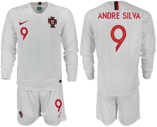 Portugal #9 Andre Silva Away Long Sleeves Soccer Country Jersey