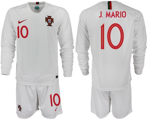 Portugal #10 J.Mario Away Long Sleeves Soccer Country Jersey