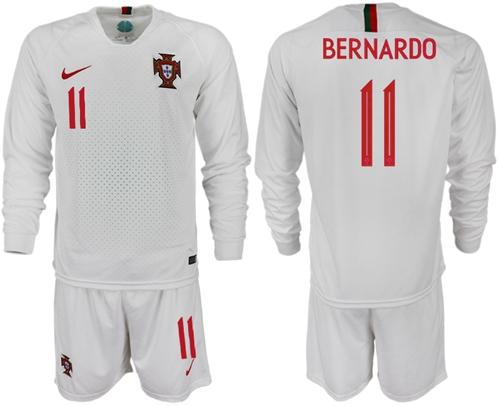 Portugal #11 Bernardo Away Long Sleeves Soccer Country Jersey
