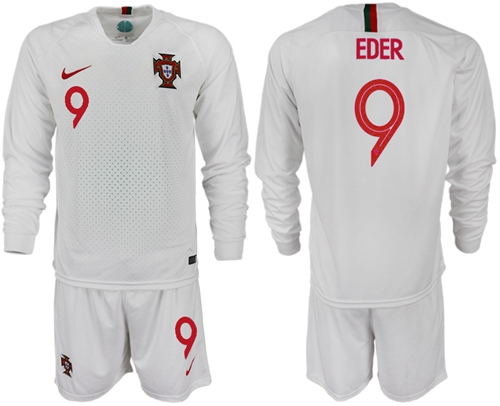 Portugal #9 Eder Away Long Sleeves Soccer Country Jersey