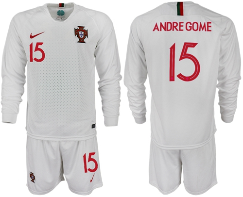 Portugal #15 Andre Gome Away Long Sleeves Soccer Country Jersey