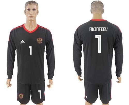 Russia #1 Akinfeev Black Long Sleeves Goalkeeper Soccer Country Jersey