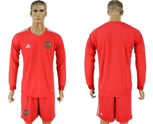 Russia Blank Red Long Sleeves Goalkeeper Soccer Country Jersey