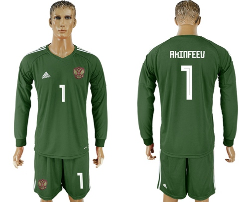 Russia #1 Akinfeev Army Green Long Sleeves Goalkeeper Soccer Country Jersey
