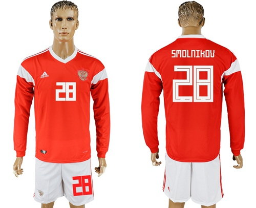 Russia #28 Smolnikov Red Home Long Sleeves Soccer Country Jersey