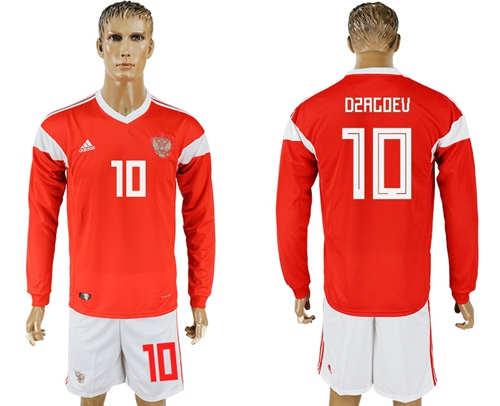 Russia #10 Dzagoev Red Home Long Sleeves Soccer Country Jersey