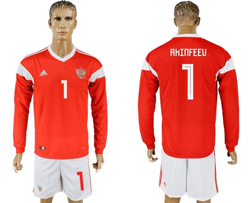 Russia #1 Akinfeev Red Home Long Sleeves Soccer Country Jersey