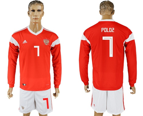 Russia #7 Poloz Red Home Long Sleeves Soccer Country Jersey