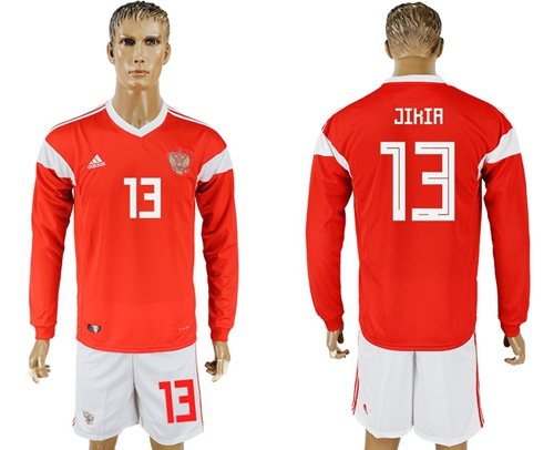 Russia #13 Jikia Red Home Long Sleeves Soccer Country Jersey
