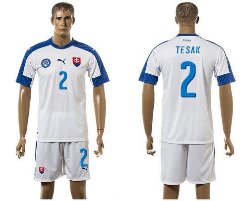 Slovakia #2 Tesak Home Soccer Country Jersey