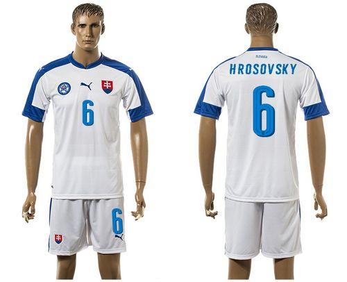 Slovakia #6 Hrosovsky Home Soccer Country Jersey