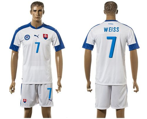 Slovakia #7 Weiss Home Soccer Country Jersey