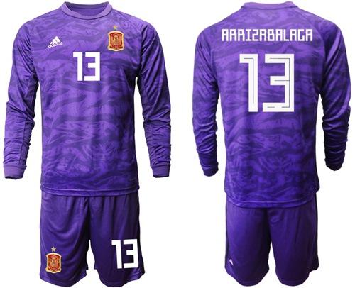 Spain #13 Arrizabalaga Purple Long Sleeves Goalkeeper Soccer Country Jersey