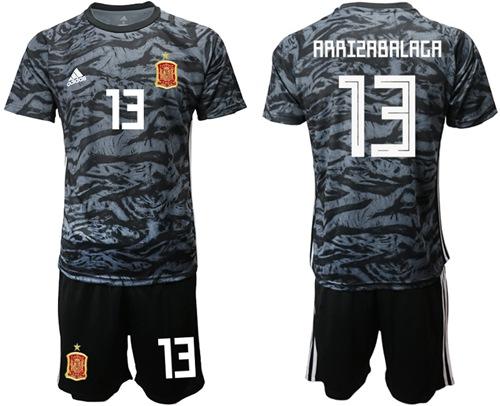 Spain #13 Arrizabalaga Black Goalkeeper Soccer Country Jersey
