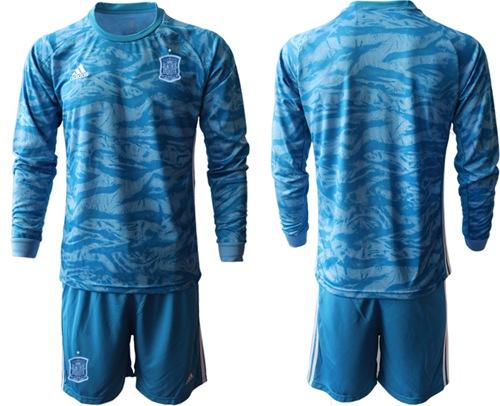 Spain Blank Blue Goalkeeper Long Sleeves Soccer Country Jersey