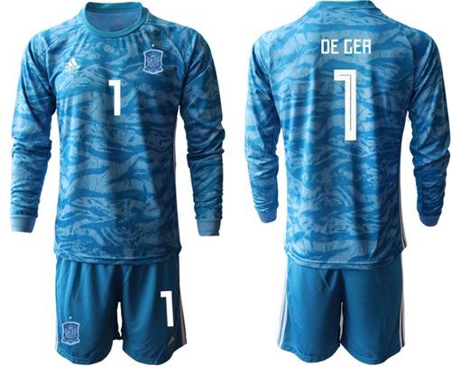 Spain #1 De Gea Blue Goalkeeper Long Sleeves Soccer Country Jersey