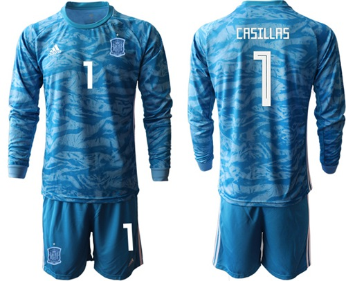 Spain #1 Casillas Blue Goalkeeper Long Sleeves Soccer Country Jersey
