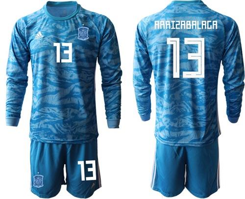 Spain #13 Arrizabalaga Blue Goalkeeper Long Sleeves Soccer Country Jersey