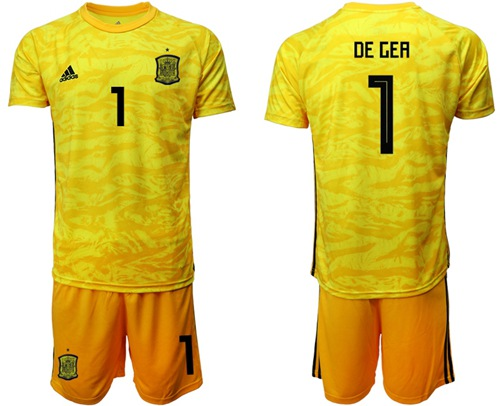 Spain #1 De Gea Yellow Goalkeeper Soccer Country Jersey