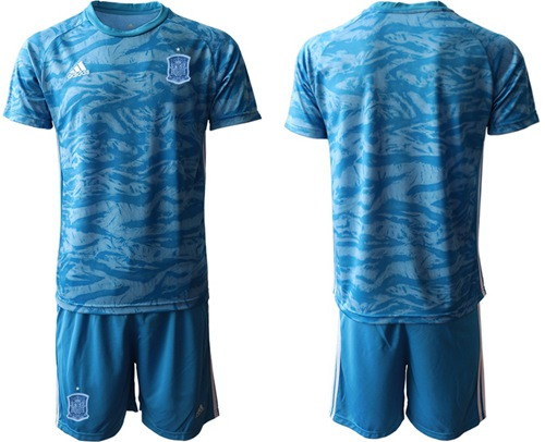 Spain Blank Blue Goalkeeper Soccer Country Jersey