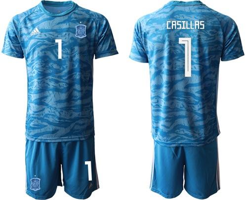 Spain #1 Casillas Blue Goalkeeper Soccer Country Jersey