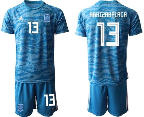 Spain #13 Arrizabalaga Blue Goalkeeper Soccer Country Jersey
