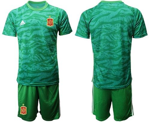 Spain Blank Green Goalkeeper Soccer Country Jersey