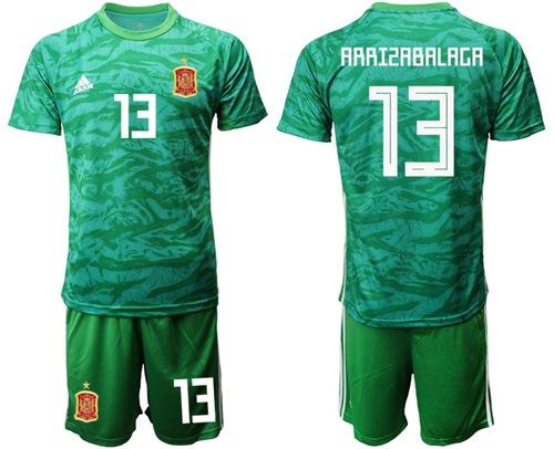 Spain #13 Arrizabalaga Green Goalkeeper Soccer Country Jersey
