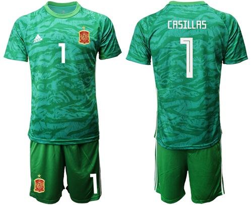 Spain #1 Casillas Green Goalkeeper Soccer Country Jersey